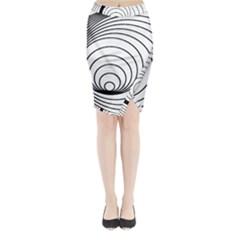 Spiral Eddy Route Symbol Bent Midi Wrap Pencil Skirt