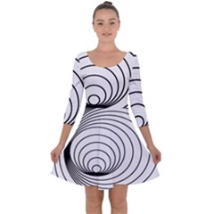 Spiral Eddy Route Symbol Bent Quarter Sleeve Skater Dress
