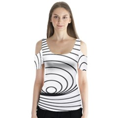 Spiral Eddy Route Symbol Bent Butterfly Sleeve Cutout Tee