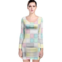 Background Abstract Pastels Square Long Sleeve Bodycon Dress