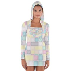 Background Abstract Pastels Square Long Sleeve Hooded T Shirt