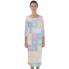 Background Abstract Pastels Square Quarter Sleeve Midi Bodycon Dress