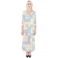 Background Abstract Pastels Square Quarter Sleeve Wrap Maxi Dress