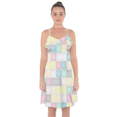 Background Abstract Pastels Square Ruffle Detail Chiffon Dress