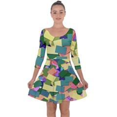List Post It Note Memory Quarter Sleeve Skater Dress