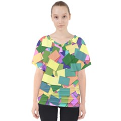 List Post It Note Memory V Neck Dolman Drape Top