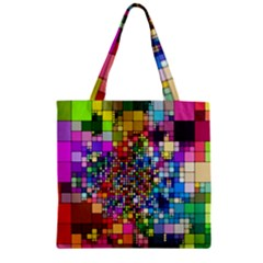 Abstract Squares Arrangement Zipper Grocery Tote Bag