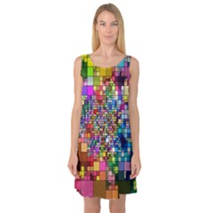 Abstract Squares Arrangement Sleeveless Satin Nightdress