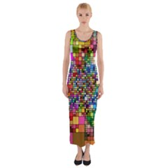 Abstract Squares Arrangement Fitted Maxi Dress