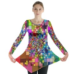 Abstract Squares Arrangement Long Sleeve Tunic