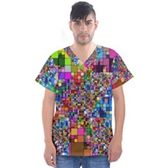 Abstract Squares Arrangement Men s V Neck Scrub Top