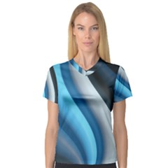 Abstract Pattern Lines Wave V Neck Sport Mesh Tee
