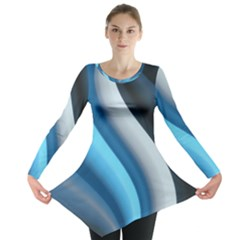 Abstract Pattern Lines Wave Long Sleeve Tunic