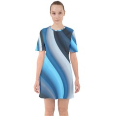Abstract Pattern Lines Wave Sixties Short Sleeve Mini Dress
