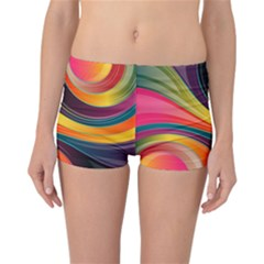 Abstract Colorful Background Wavy Reversible Boyleg Bikini Bottoms