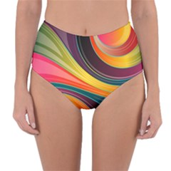 Abstract Colorful Background Wavy Reversible High Waist Bikini Bottoms