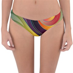 Abstract Colorful Background Wavy Reversible Hipster Bikini Bottoms