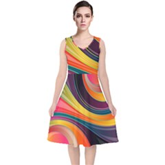 Abstract Colorful Background Wavy V Neck Midi Sleeveless Dress