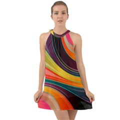 Abstract Colorful Background Wavy Halter Tie Back Chiffon Dress