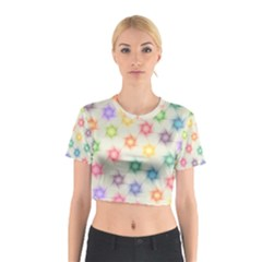 Polygon Geometric Background Star Cotton Crop Top