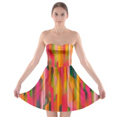 Background Abstract Colorful Strapless Bra Top Dress