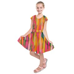 Background Abstract Colorful Kids  Short Sleeve Dress