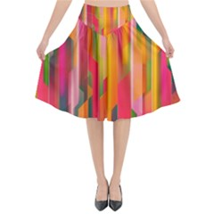 Background Abstract Colorful Flared Midi Skirt