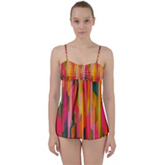 Background Abstract Colorful Babydoll Tankini Set