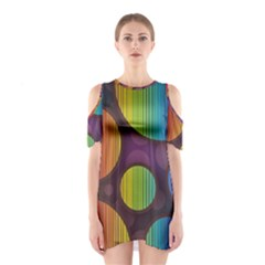 Background Colorful Abstract Circle Shoulder Cutout One Piece