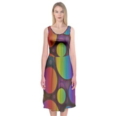 Background Colorful Abstract Circle Midi Sleeveless Dress