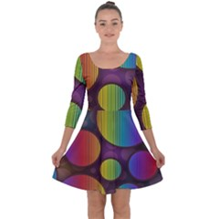 Background Colorful Abstract Circle Quarter Sleeve Skater Dress