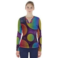 Background Colorful Abstract Circle V Neck Long Sleeve Top