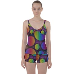 Background Colorful Abstract Circle Tie Front Two Piece Tankini
