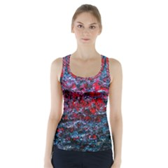 Water Color Red Racer Back Sports Top