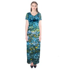 Water Color Yellow Short Sleeve Maxi Dress