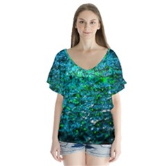 Water Color Green V Neck Flutter Sleeve Top