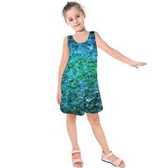 Water Color Green Kids  Sleeveless Dress