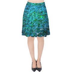 Water Color Green Velvet High Waist Skirt