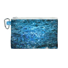 Water Color Blue Canvas Cosmetic Bag (medium) by FunnyCow