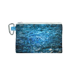 Water Color Blue Canvas Cosmetic Bag (small) by FunnyCow