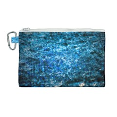 Water Color Blue Canvas Cosmetic Bag (large) by FunnyCow