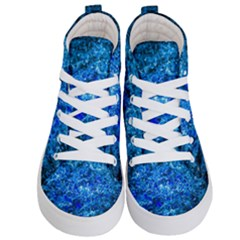Water Color Navy Blue Kid s Hi Top Skate Sneakers