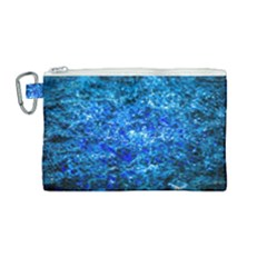 Water Color Navy Blue Canvas Cosmetic Bag (medium) by FunnyCow