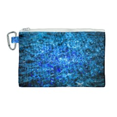 Water Color Navy Blue Canvas Cosmetic Bag (large) by FunnyCow