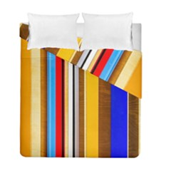 Colorful Stripes Duvet Cover Double Side (full/ Double Size) by FunnyCow
