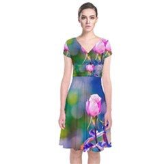 Pink Rose Flower Short Sleeve Front Wrap Dress by FunnyCow
