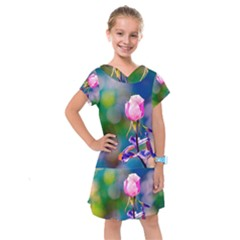 Pink Rose Flower Kids  Drop Waist Dress by FunnyCow
