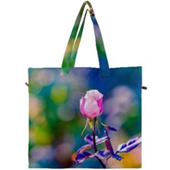 Pink Rose Flower Canvas Travel Bag by FunnyCow