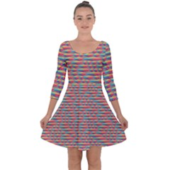 Background Abstract Colorful Quarter Sleeve Skater Dress