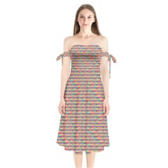 Background Abstract Colorful Shoulder Tie Bardot Midi Dress